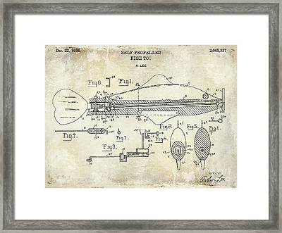 1949 Artificial Fish Lure Patent Drawing Blue Framed Print by Jon Neidert