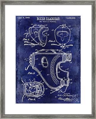 1949 Boxer Headgear Patent Drawing Blue Framed Print