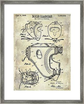 1949 Boxer Headgear Patent Drawing  Framed Print