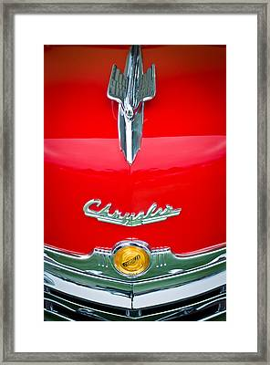 1949 Chrysler Town And Country Convertible Hood Ornament And Emblems Framed Print