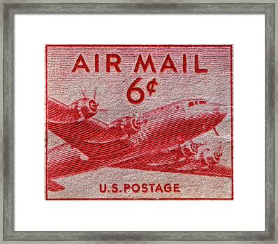 1949 Dc-4 Skymaster Air Mail Stamp Framed Print by Bill Owen