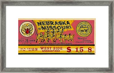 1949 Football Ticket - Nebraska Vs Missouri Framed Print by David Patterson