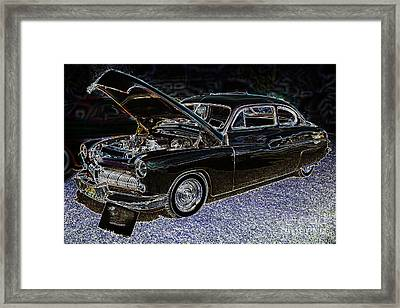 1949 Mercury Coupe In Color Dark Drawing 3036.04 Framed Print by M K  Miller