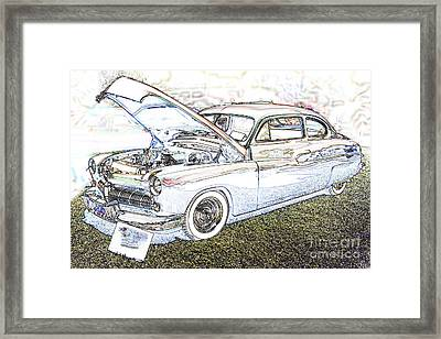 1949 Mercury Coupe In Color Light Drawing 3036.03 Framed Print by M K  Miller