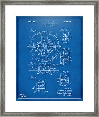 1949 Movie Film Reel Patent Artwork - Blueprint Framed Print