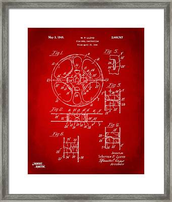1949 Movie Film Reel Patent Artwork - Red Framed Print by Nikki Marie Smith