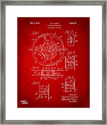 1949 Movie Film Reel Patent Artwork - Red Framed Print by Nikki Marie Smith