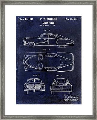 1949 Tucker Automobile Patent Drawing Blue Framed Print by Jon Neidert
