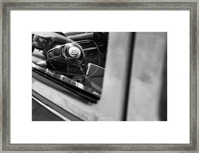 1950 Ford Custom Deluxe Woodie Station Wagon Steering Wheel Emblem Framed Print by Jill Reger