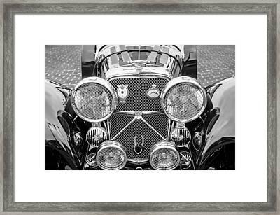 1950 Jaguar Xk120 Roadster Grille -0260bw Framed Print by Jill Reger