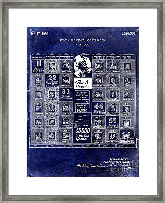 1950 Stock Market Game Patent Drawing Blue Framed Print