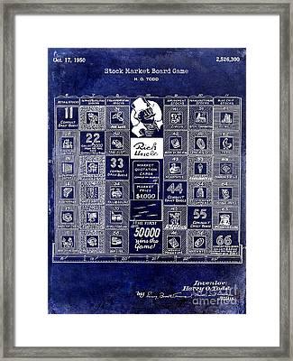 1950 Stock Market Game Patent Drawing Blue Framed Print by Jon Neidert