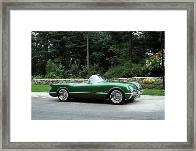 1950s 1954 Vintage Green Corvette Framed Print