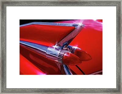 1950s 1959 Red Cadillac Car Fender Tail Framed Print