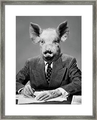 1950s 1960s 1970s Montage Of Pig Headed Framed Print