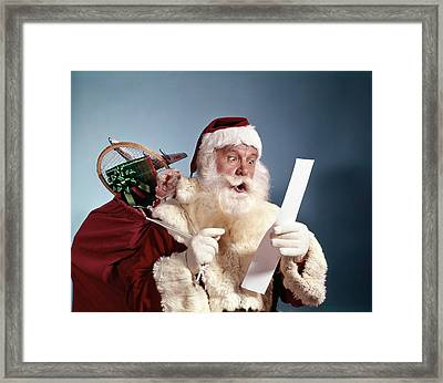 1950s 1960s 1970s Surprised Santa Claus Framed Print