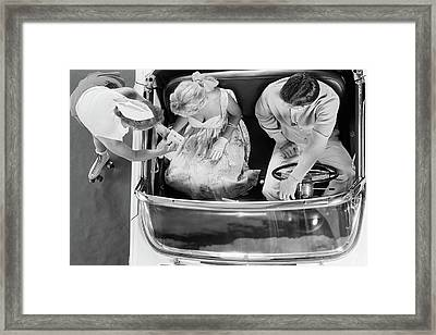 1950s 1960s Aerial View Of Carhop Framed Print