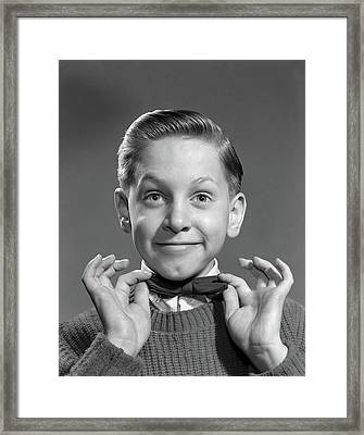1950s 1960s Boy Adjusting Bow Tie Framed Print