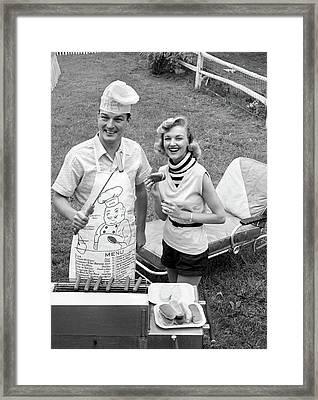 1950s 1960s Couple Backyard Grilling Framed Print