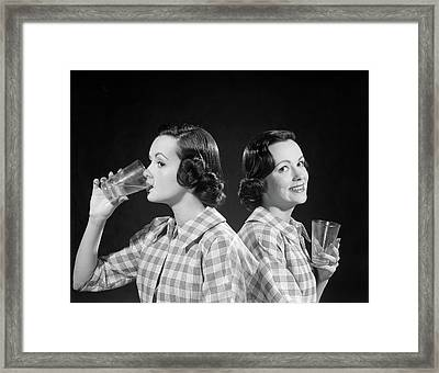 1950s 1960s Double Exposure Of A Woman Framed Print