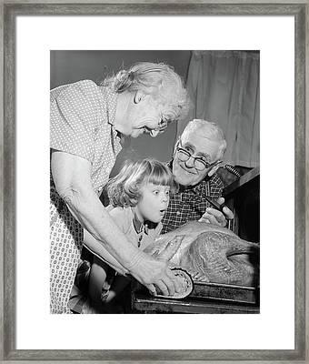 1950s 1960s Excited Little Girl Framed Print