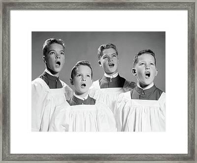 1950s 1960s Four Choir Boys Singing Framed Print