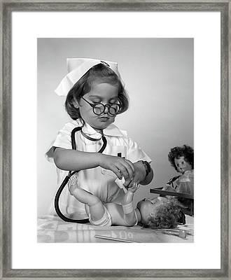 1950s 1960s Girl Wearing Nurse Uniform Framed Print