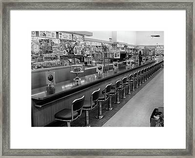 1950s 1960s Interior Of Lunch Counter Framed Print
