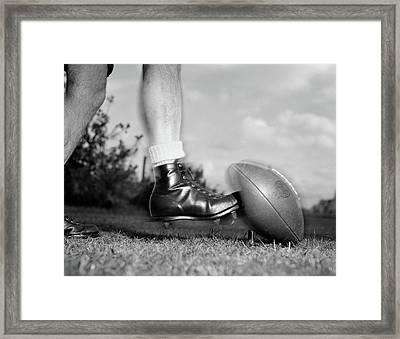 1950s 1960s Kickoff Close-up Of Foot Framed Print