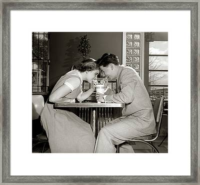 1950s 1960s Laughing Teenage Couple Boy Framed Print