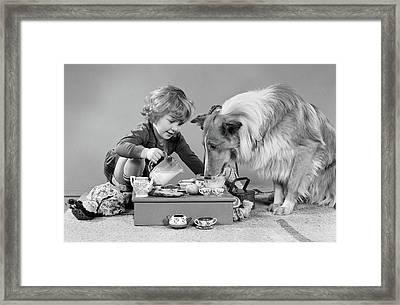 1950s 1960s Little Girl Pouring Milk Framed Print