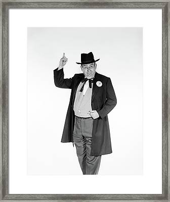 1950s 1960s Man In Old-time Politician Framed Print