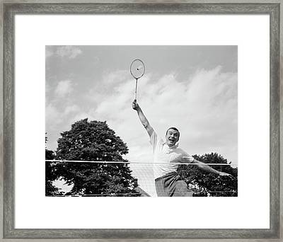 1950s 1960s Man Playing Badminton Framed Print