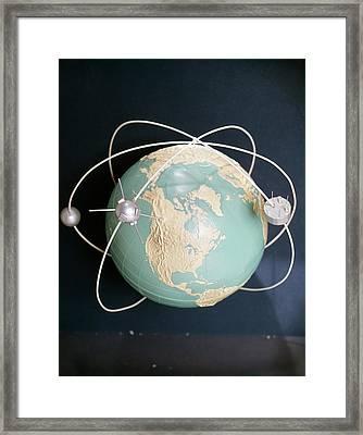 1950s 1960s Model Of Satellites Framed Print