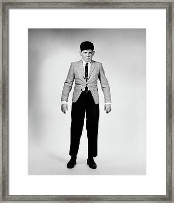 1950s 1960s Overgrown Boy In Too Tight Framed Print