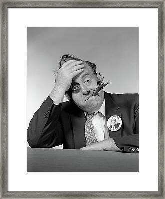 1950s 1960s Politician With Black Eye & Framed Print