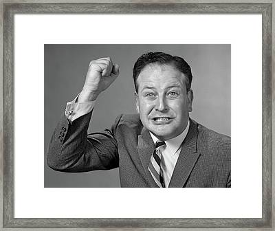 1950s 1960s Portrait Of Angry Man Framed Print