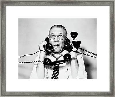 1950s 1960s Portrait Of Frazzled Framed Print
