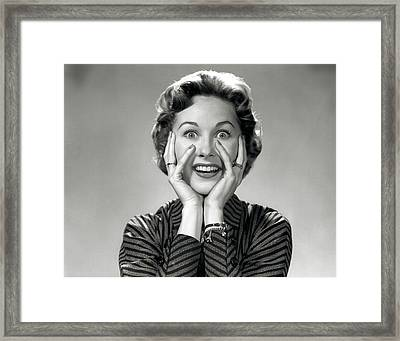 1950s 1960s Portrait Of Wacky Woman Framed Print