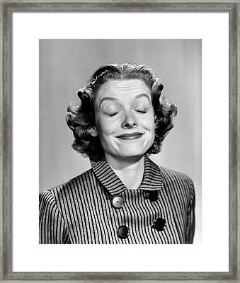 1950s 1960s Portrait Woman Smiling Eyes Framed Print