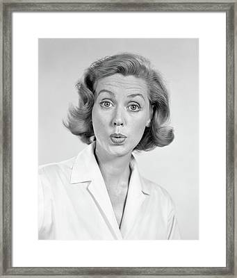 1950s 1960s Portrait Woman With Shocked Framed Print