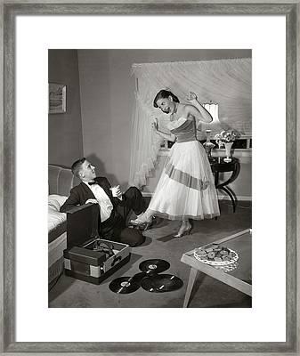 1950s 1960s Teen Couple In Living Room Framed Print