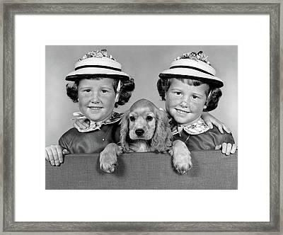 1950s 1960s Twin Girls Wearing White Framed Print