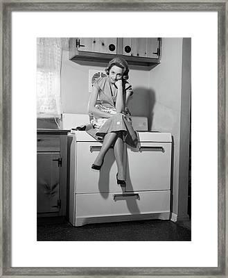 1950s 1960s Woman Housewife Sitting Framed Print