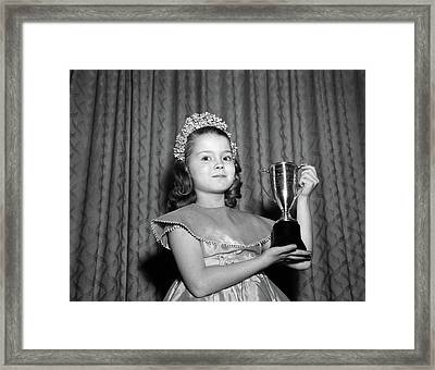 1950s 1960s Young Girl Standing Framed Print