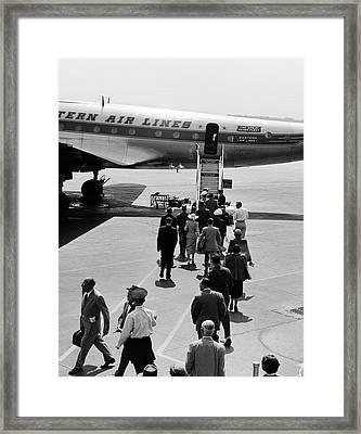 1950s Airplane Boarding Passengers Framed Print