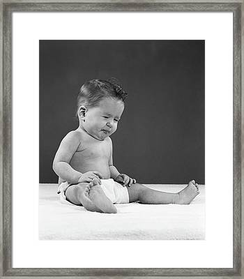 1950s Baby Full Figure Sitting Framed Print