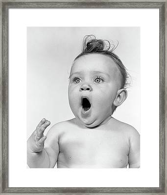 1950s Baby Mouth Wide Open Yawning Framed Print