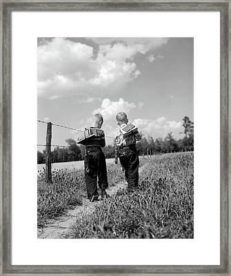 1950s Back View 2 Boys With Book Packs Framed Print