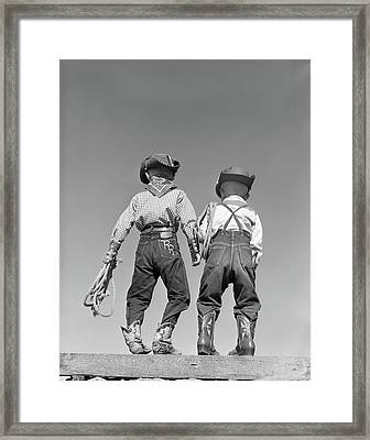 1950s Back View Of Two Boys Dressed Framed Print